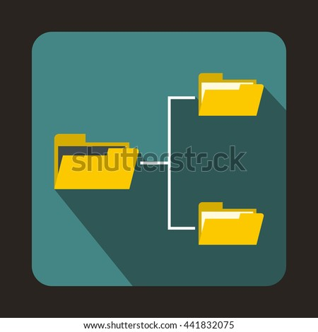 Folders structure icon in flat style on a blue background - stock vector