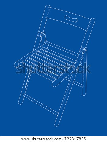 Folding chair sketch. Vector rendering of 3d. Wire-frame style. The layers of visible and invisible lines are separated