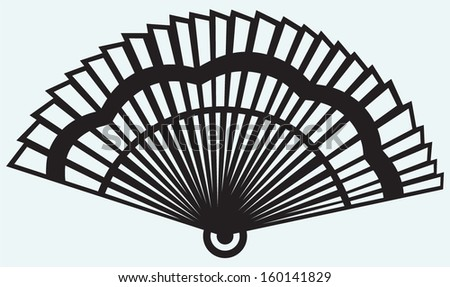 Folding fan isolated on blue background - stock vector