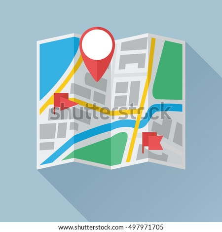 Folding paper city map with location mark and flag labels. Colored flat icon. Vector eps8 illustration.