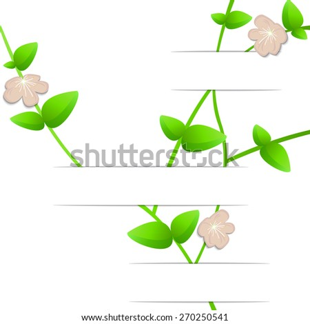Foliage and flowers on the curved white background , 3D paper, web design, vector, eps10 - stock vector