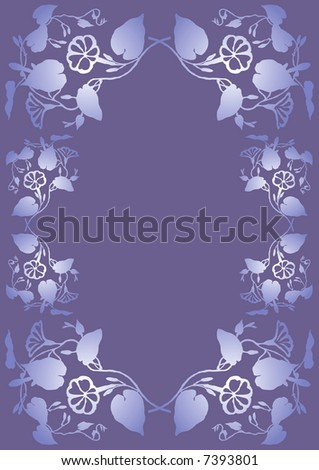 Foliage background with Morning glory (Ipomoea) in purple and blue