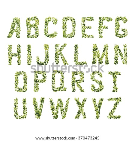 Foliage decorative green font. Set of ABC letters watercolor leaves and bines. Floral ornate alphabet environmental concept. Capital letters easy to combine. Vector is EPS8. - stock vector
