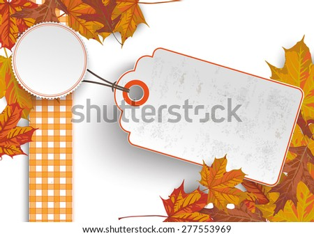 Foliage with price sticker on the white background. Eps 10 vector file. - stock vector