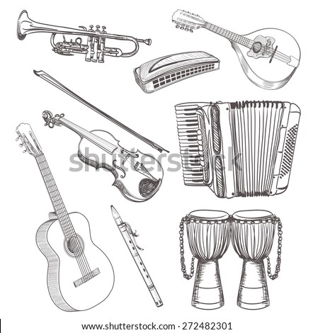folk musical instruments drawing set  - stock vector