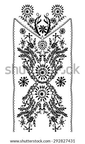 Folk neck print for garments or other uses, in vector - stock vector