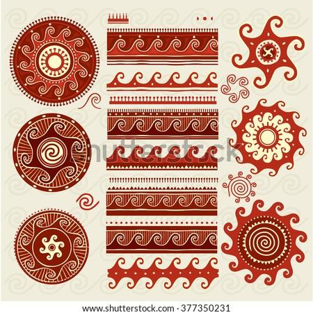 Folk ornaments elements - stock vector