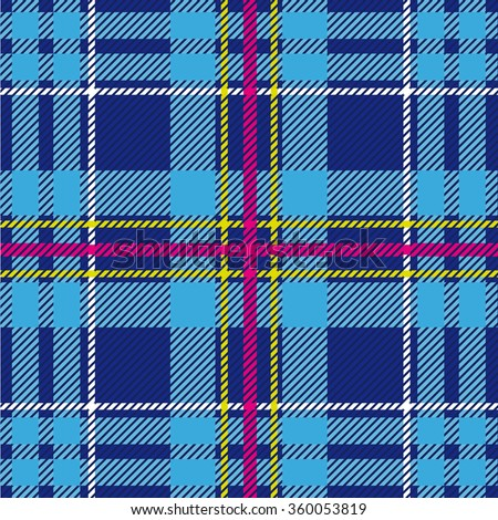 Folk plaid seamless checkered vector pattern. Retro textile collection. Blue with pink, yellow and white stripes. Backgrounds & textures shop. - stock vector