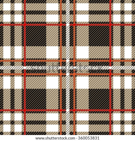 Folk plaid seamless checkered vector pattern. Retro textile collection. Grey, white with red and white stripes. Backgrounds & textures shop. - stock vector