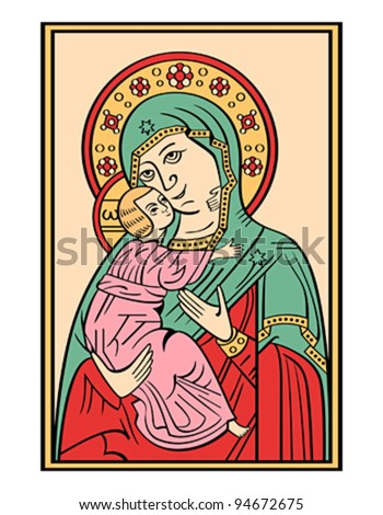 Folk russian lubok drawing of Bogoroditsa (Virgin Mary) with baby Jesus