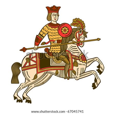 Folk russian lubok drawing of mighty knight on horse - stock vector