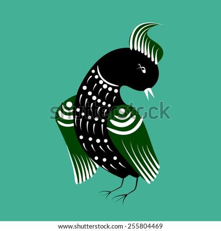 folk russian painting birds - stock vector