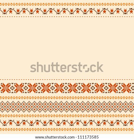 Folk style textile embroidered background with place for text - stock vector