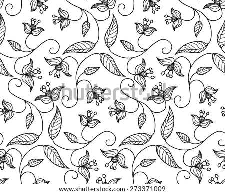 folk stylized floral ornament. vector seamless pattern with black outlines on white background. - stock vector