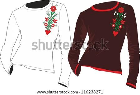 folk t-shirts design - stock vector