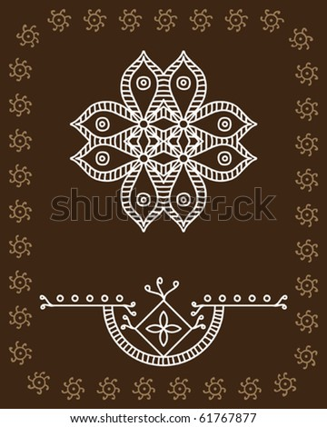 Folk, Tribal Designs, Motif, Wall Painting - stock vector