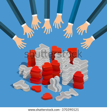 Follow connecting networking sharing social media concept. Hands of businessmen are trying to get icons of likes and users. Vector illustration in flat style.  - stock vector
