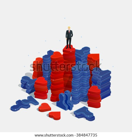 Follow connecting networking sharing social media concept. Vector illustration in flat style.  - stock vector