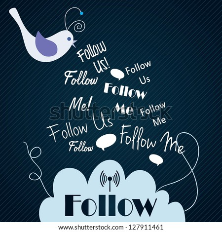 Follow me and follow us, Icon with little bird on dark blue background. Vector illustration - stock vector