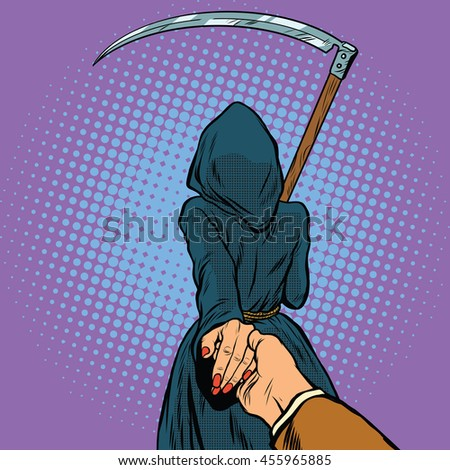 Follow me, the Grim Reaper leads pop art retro vector. Death and mythology - stock vector
