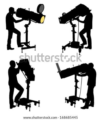follow spot operator silhouettes - stock vector