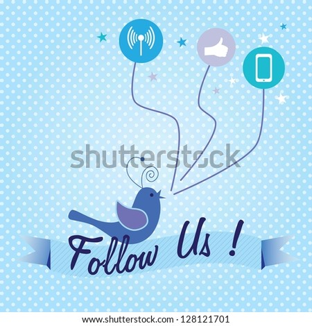 Follow Us, label with little bird singing and media icons. Vector illustration - stock vector