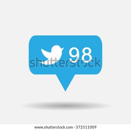 Follower isolated counter notification Bird  Blue Tweet  Bird Vector Logo, JPG, JPEG, EPS.Twitter Icon  Button.Flat Social Media Twiter Sign - stock vector