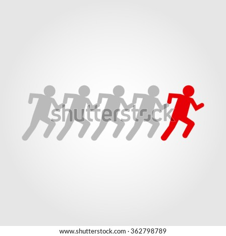 followers: obedient crowd blindly following trusted leader - stock vector