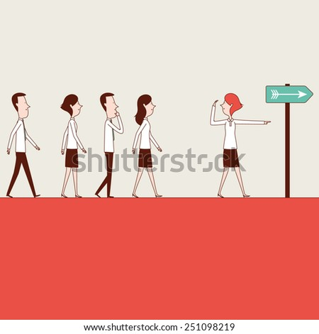 Following The Way - stock vector