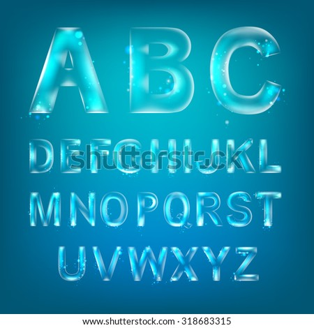 Font alphabet symbols in style of transparent glass isolated over blue background. Vector illustration consists layered structure and may be easy changed. - stock vector