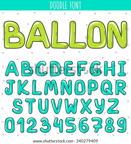 Font ballon. Cartoon font.  Set volume of letters and numbers in the doodle. Letters drawn by hand. Children's font.  Beautiful color sketch cartoon set of letters. Blue stylish Font  - stock vector