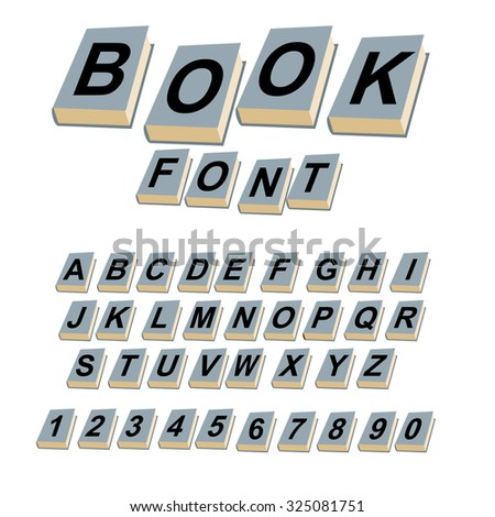 Font book. Alphabet on covers of books.  ABCs of log on vintage hardcover books. Old books with letters. Set of alphabetic characters and digits creative for  text. - stock vector