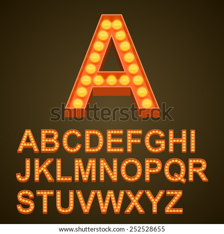Font bulbs art sign abc. Vector illustration - stock vector