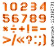 Font folded from colored paper - Arabic numerals, orange. Arabic numerals (0, 1, 2, 3, 4, 5, 6, 7, 8, 9). - stock vector