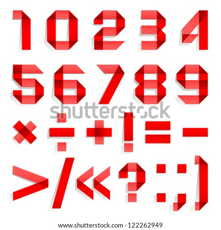 Font folded from colored paper - Arabic numerals, red. Arabic numerals (0, 1, 2, 3, 4, 5, 6, 7, 8, 9). - stock vector