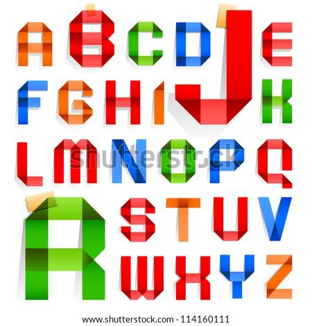 Font folded colored paper roman alphabet stock vector 114160111 font folded from colored paper roman alphabet a b c d altavistaventures Images