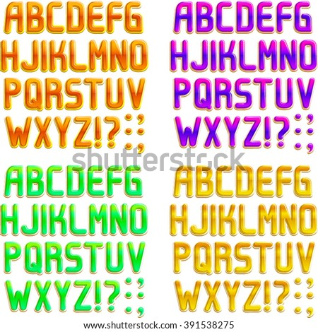 Font in 4 colors, orange, purple, green, yellow. Part 1/2 Alphabet - stock vector