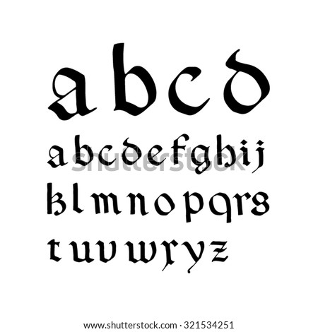 Font inspired by medieval blackletter script Rotunda  - stock vector