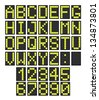 Font - letters and numbers imitating a digital display board. Usable for airport schedules, train timetables etc. - stock photo