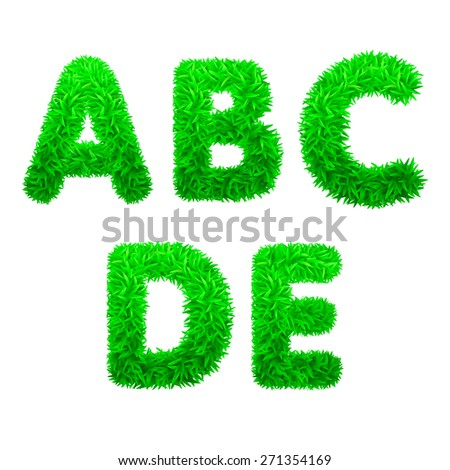 Font. Letters of green grass. Vector  eps 10.
