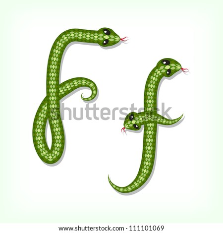 Font made from green snake. Letter F - stock vector