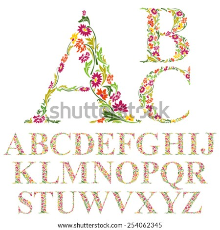 Font made with leaves, floral alphabet letters set, vector design. - stock vector