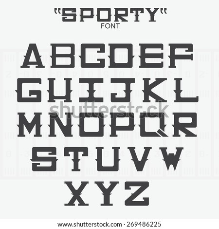 Font of sports theme. Vector - stock vector