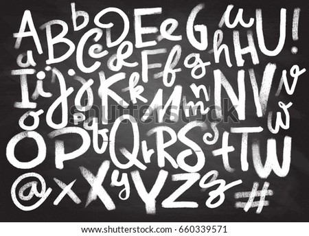 Font Pencil Vintage Hand Drawn Alphabet Drawing With Chalk On Chalkboard BackgroundHand Calligraphy