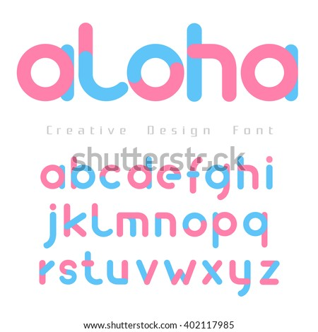 font set vector with pink and Blue Color on white background for you design,Futuristic font, Cosmic, Vector alphabet set, Elegant light font , typeface, typography, typewriter. - stock vector