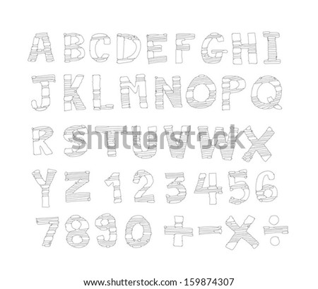 Font Sketch Hand Drawing Vector Letters Stock Vector 159874307 - Shutterstock