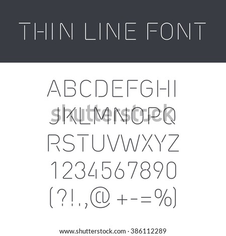 Font Thin Lines with Isolated  on White  Background