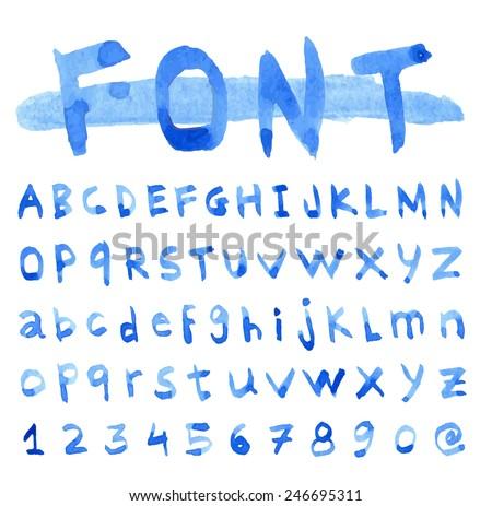 Font Watercolor. Handwritten Vector illustration. - stock vector