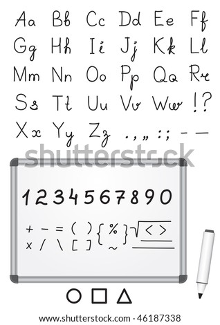 Font written by a marker on a magnetic white marker board - stock vector