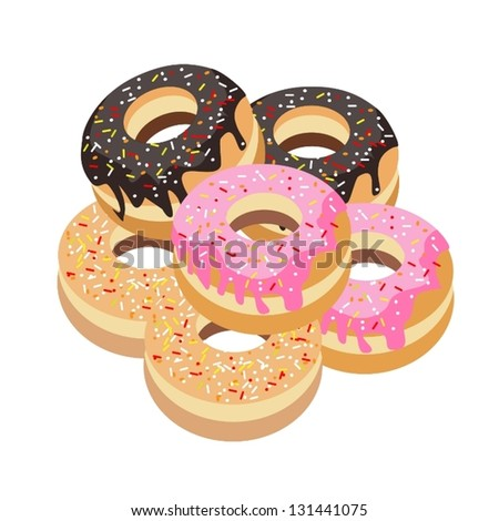 Food and Bakery, An Illustration Stack of Delicious Sweet Donuts with Chocolate, Strawberry and Vanilla Toppings - stock vector